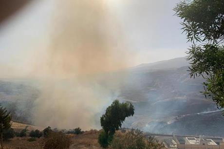 حريق كبير على طريق عمان جرش